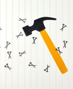 Play a fun game of pin the nail on the hammer at your next construction themed birthday