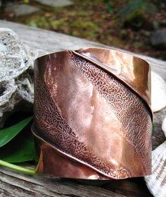 Wide tribal fold formed copper cuff bracelet by JanEOjewelry, $45.00