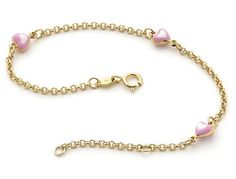 Baby and Childrens Bracelets: Piccolo 9K Gold Heart Charm Bracelets with Complimentary Gift Boxes - Baby Jewelry & Childrens Jewelry. Gifts for New Mothers.