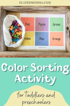 Check out this east sorting activity and 20 creative All About Me themed activities and products for toddlers and preschoolers at home play based learning. These activities are fun to do together and also great for Montessori style learning at home. #allaboutme #themedactivites #playbasedlearning #montessoriactivities #toddleractivities #preschoolactivites Sorting Activities, Montessori Activities, Preschool Activities, Toddler Preschool, Toddler Crafts, Red Purple, Blue Orange, Play Based Learning, Little Ones