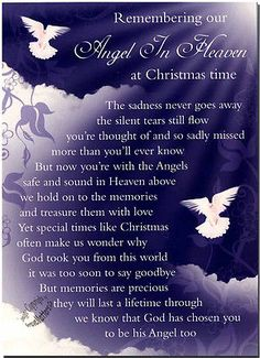 Christmas Grave Card Angel In Heaven FREE HolderC114