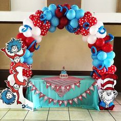 Cat in the Hat birthday! Best Picture For Cat birthday party ideas diy For Your Taste You are looking for something, and it is goin Boys First Birthday Party Ideas, Dr Seuss Birthday Party, Pink And Gold Birthday Party, Twin Birthday Parties, Cat Birthday, Birthday Balloons, Birthday Party Themes, Miami Party, Dr Seuss Party Ideas