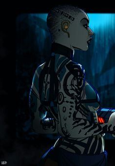 "Mass Obsessed — b-e-m-l-t: ""I'm a dangerous bitch. Mass Effect Jack, Mass Effect Tattoo, Thane Krios, Mass Effect Characters, Female Monster, Mass Effect Universe, Star Force, Video Games Girls, Critical Role Fan Art"