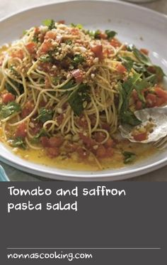 Tomato and saffron pasta salad Saffron Recipes, Dill Recipes, Tomato Salad Recipes, Cooking Tomatoes, Cooking Pasta, Cooking Recipes, Special Salad Recipe, Special Recipes, Wheat Pasta Recipes