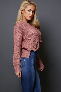 """- V-Neckline Side and Back Shredded Crop Sweater - 100% Acrylic - Hand Wash Cold - No Bleach - Hang Dry - Model is wearing a size SMALL - Model body measurements: Height 5'4"""" / Weight 110 lbs / Bust 3"""