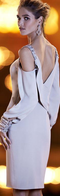Pamella Roland Crystal Trim Cold-Shoulder Cocktail Dress