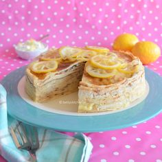 Layercake from Pancakes and Lemon curd pudding. (recipe in Dutch)