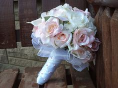 17 pc. Blush Pink and White Silk Bridal Bouquet / Silk by mtfloral