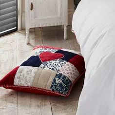 Designed and created by Jan Constantine, this square cushion is made up of a true patchwork. Featuring handwork blanket stitching around the edge, the patchwork. Patchwork Cushion, Soft Furnishings, Cushions, Throw Pillows, Blanket, Bed, Cotton, Inspiration, Furniture