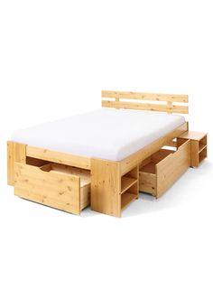 """Jetzt anschauen: Das Bett """"Delta"""" wird für angenehme Träume sorgen, denn das Bett ist nicht nur zeitlos schön, sondern zudem auch praktisch. Es verfügt über drei Schubladen, in denen mühelos das Bettzeug verstaut werden kann. Kleine Regale an der Seitenfront des Bettes bieten sich als Bücherregal oder weitere Ablageflächen an. Das Bett """"Delta"""" ist für verschiedene Matratzengrößen geeignet und passt sich jedem Einrichtungsstil hervorragend an."""