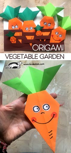 Paper Crafts For Kids, Arts And Crafts, Diy Crafts, Origami Vegetables, Vegetable Crafts, Vegetable Gardening, Diy Projects For Beginners, Fun Hobbies, Garden Crafts