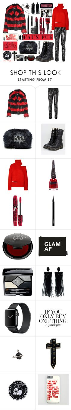 """""""If You Only Buy One Thing: A Punk Pin!"""" by curekitty ❤ liked on Polyvore featuring McQ by Alexander McQueen, Marciano, Karl Lagerfeld, Dr. Martens, Monse, Manic Panic NYC, Physicians Formula, MAC Cosmetics, Rituel de Fille and Christian Dior"""