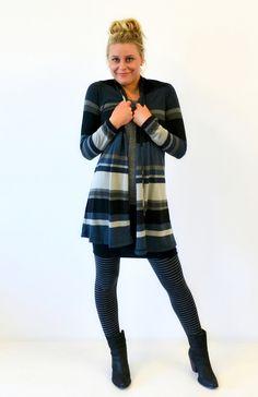 New Short Drape Cardigan in our favourite Black Multi stripe fabric!