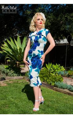Multicolor Floral Print Erika Dress in Vintage Floral with Bolero Wiggle Pencil Dress @ Pinup Girl Clothing $120