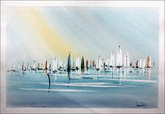 "Olivier SUIRE-VERLEY - Aquarelle Originale "" Les bateaux en Mer "" : Galerie 125"