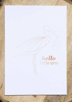 Art-print Stork hello little one Graphic animals - Designed by Dieuwertje van der Linden