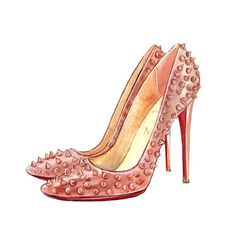 Christian Louboutin Shoes, Watercolor Illustration, Pink Art Print. $10.00