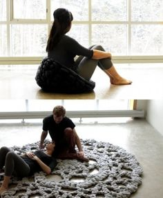 giant crocheted rug by rosanne