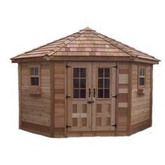 Garden Sheds 5 X 9 9 ft. x 9 ft. penthouse cedar garden shed, browns/tans | backyard