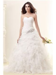 Pretty Sweetheart Sleeveless Floor-length Chapel Ruffles Taline's Wedding Dress