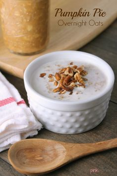 Pumpkin Pie Overnight Oats  ThePinkSprinkle use GF oats and milk of choice to make GF and Vegan!