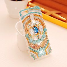 Bohemia Folk Style bling iphone 5 case iphone 4 case bling art cute unique iphone 5 case light green turquoise iPhone 5 Case. $32.00, via Etsy.