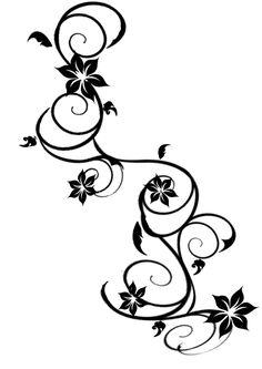 Cool-Black-Vine-Flower-Tattoo-Stencil.jpg (1600×2263)