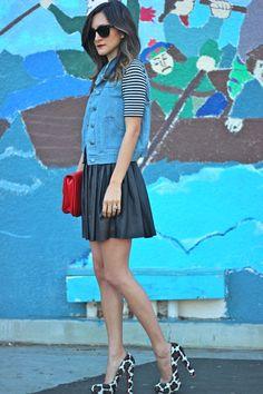 leather skirt and denim vest