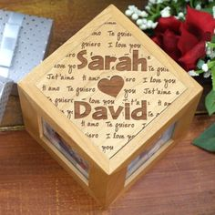 Personalized Engraved I Love You Photo Cube