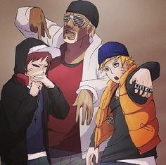 Essa foto me deixa feliz, porque o Gaara, o Naruto e o Kiler-Bee juntos cantando é muito divertido.