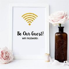 Such a cute idea for a guest bedroom. WiFi poster on Etsy.