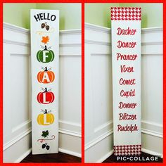 Excited to share this item from my #etsy shop: Reversible porch sign - fall/winter decor Fall Wood Signs, Fall Signs, Wooden Signs, Rustic Signs, Holiday Signs, Christmas Signs, Christmas Ideas, Front Porch Signs, Fall Front Porches