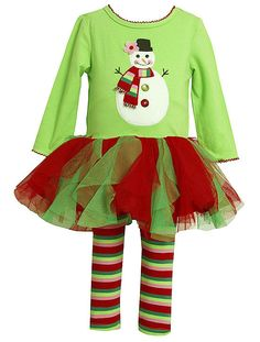 """Such a CUTE holiday outfit for any little girl by Bonnie Jean! - Lime Green and Red """"SNOWMAN"""" Tutu Leggings set (available in sz.12m-6x). #Christmas"""