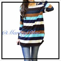Comfy Oversized Striped Thin Knit Sweater Super comfortable and pretty! Oversized fit. Thin sweater material which is great because it doesn't give you that bulky feeling. Great to layer underneath. Looks super cute with leggings! Best seller! You will love this sweater!! Approximate measurements... Measured lying flat. Width under arms 20 inches across;  21 inches at waist; overall length about 27 inches. If you would like to purchase, please comment and I will make you your own listing…