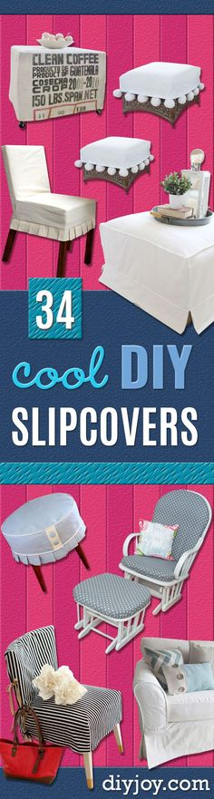 Diy Slipcovers – Do It Yourself Slip Covers For Furniture – No Sew Ideas, Easy Fabrics Four Couch And Sofa Cover – Chair Projects And Ideas, How To Make A Slip Cover With Step By Step Tutorial And Instructions – Cool Diy Home And Living Room Decor Do It Yourself Furniture, Do It Yourself Home, Diy Furniture Couch, Furniture Covers, Furniture Ideas, Diy Living Room Decor, Living Rooms, Diy Home Decor Projects, Decor Ideas