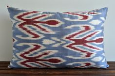 Ikat Pillow  16x24 Handwoven Silk Organic Modern by pillowme