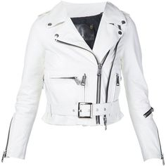 R13 'Shrunken Moto' jacket (€2.530) ❤ liked on Polyvore featuring outerwear, jackets, white, white biker jacket, moto jacket, rider jacket, biker jacket and cotton motorcycle jacket