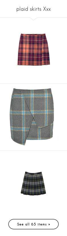 """""""plaid skirts Xxx"""" by satansushi ❤ liked on Polyvore featuring skirts, bottoms, purple tartan skirt, tartan wrap skirt, tommy hilfiger, wrap skirt, plaid wrap skirt, grey, grey plaid skirt and zipper skirt"""