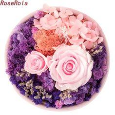 RoseRola永生花批发礼盒七彩玫瑰保鲜花求婚表白结婚祝福生日礼物