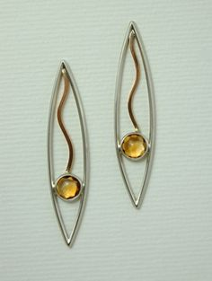 Jackie Anderson: Earrings (gold waves), sterling silver, 14k gold, citrines