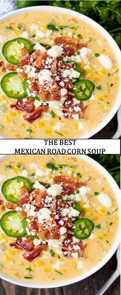 The World's most delicious food cake drink This Mexican Road Corn Soup has every one of the flavors you adore fro. Best Healthy Dinner Recipes, Healthy Soup, Mexican Food Recipes, Healthy Eating, Mexican Dishes, Casserole Recipes, Soup Recipes, Yummy Recipes, Luncheon Recipes