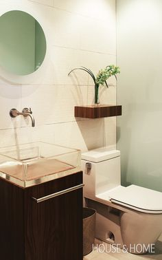 Hotel-Style Powder Room   Photo Gallery: Modern Bathrooms   House & Home   Photo by Ted Yarwood
