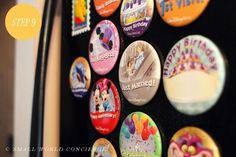 Convert Disney park buttons to refrigerator magnets