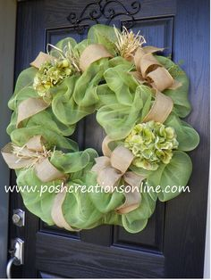 Custom Beautiful Green & Burlap Wreath! Search poshcreationsky on www.etsy.com to see more of my creations! Thanks!