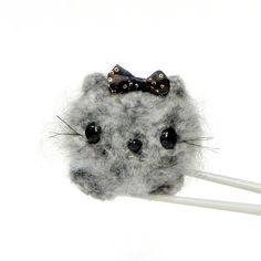Crochet Amigurumi mochi toy doll - Fluffy gray cat MochiQtie by MochiQtie, $15.00