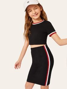 To find out about the Girls Striped Neck & Cuff Top & Bodycon Skirt Set at SHEIN, part of our latest Girls Two-piece Outfits ready to shop online today! Girls Fashion Clothes, Kids Outfits Girls, Cute Girl Outfits, Tween Fashion, Cute Outfits For Kids, Teen Fashion Outfits, Cute Casual Outfits, Stylish Outfits, Girl Fashion