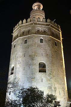 Torre del Oro in Seville, Spain, by night