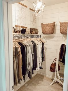 Small closet small closet organization shiplap walls closet organizing organizing a small closet organizing tips organized closet standup mirror pretty closet Closet Refresh: How to Organize a Small Closet Interior Design Bedroom, House Interior, Bedroom Decor, Home, Interior Design Living Room, Interior, Home Bedroom, Home Decor, Small Closet Organization