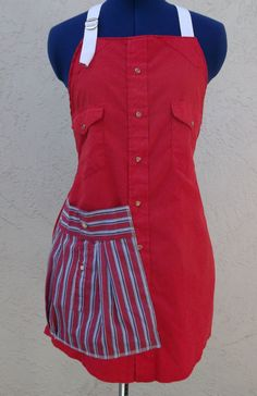 ECO APRONCheery Red Apron from Men's shirt by californiaapron, $39.00
