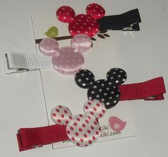 set of FOUR of MINNIE and MICKEY mouse SATIN applique CLIPS clippies will fit BABIES and TODDLERS even TWEENS and TEENS